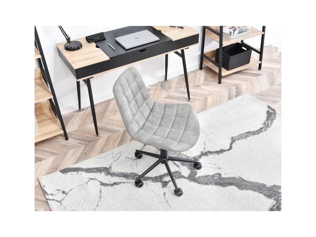 Krzesło obrotowe pikowane w stylu vintage ELIOR szary czarny